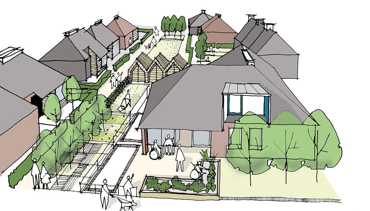 Housing grouped around shared community and social spaces.