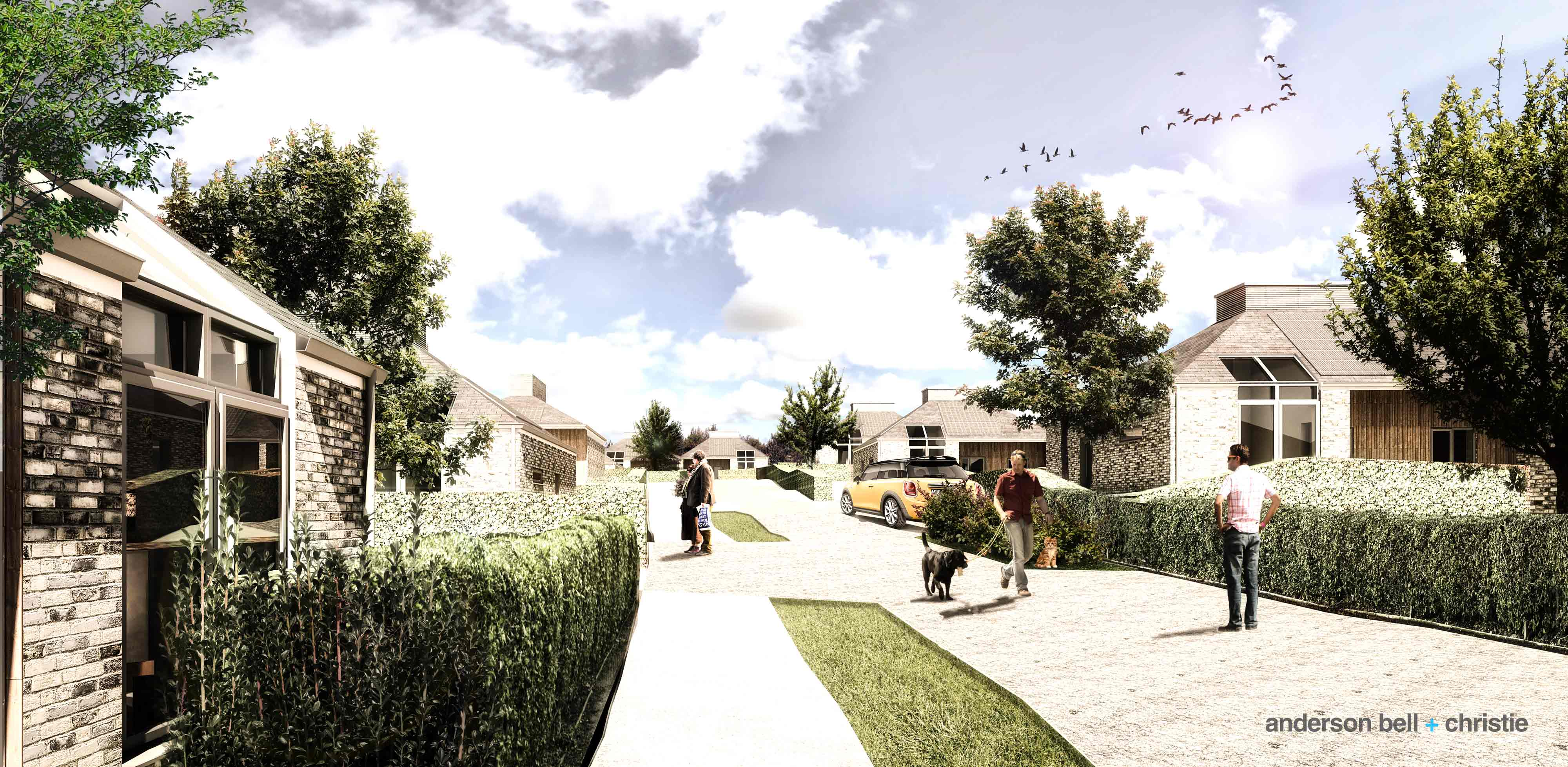 Architects impression of the new neighbourhood at Gannochy Estate.